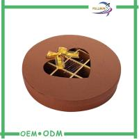Decorative Brown Round Chocolate Boxes Packaging With Transparent Window Manufactures