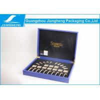 New Design Blue Pu Leather on Cosmetic Packaging Boxes OEM Logo Manufactures