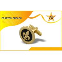 Contemporary Gold Metal Round Custom Cufflinks Fathers Day Gift Idea Manufactures