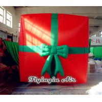 China Red Cube Christmas Inflatable Gift Box for Christmas Decoration wholesale