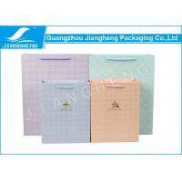 Colored Paper Packaging Bags , Check Pattern Cmyk Printing Branding Paper Bags Manufactures