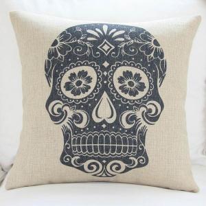 China Custom print skull cushion cover,durable cotton linen cushion,sofa TV body support padding on sale