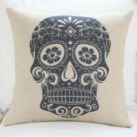 China Custom print skull cushion cover,durable cotton linen cushion,sofa TV body support padding on sale