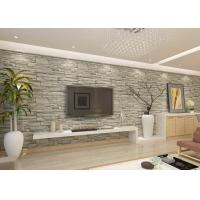 Stylish Removable Faux 3D Brick Effect Wallpaper with Grey Stone Pattern for Living Room Manufactures