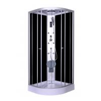 China Steam Massage with Electronic computer panel Circle Quadrant Shower Cabin with white acrylic tray and roof wholesale