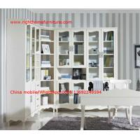 China Reading room Neoclassical Furniture by White Bookcase set with glass door and Computer working desk wholesale