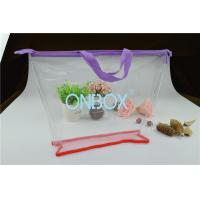 Ladies Cosmetics High Clear PVC Bag / Carrying Bag With Purple Zipper Closure Manufactures