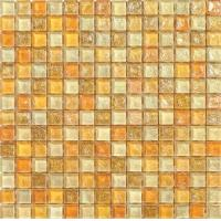 China shape yellow color water waving glass mosaic tile for entrance on sale