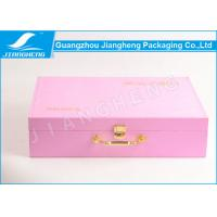 Pink color suitcase design with sewing PU leather storage packaging box Manufactures