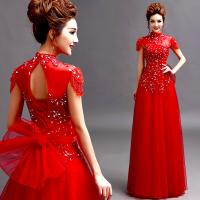 Red Cap Sleeves Beading High Neck Gorgeous Evening Dress TSJY124 Manufactures