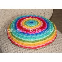 China Round Colorful Rainbow Multi - Layer Blooming Rose Chair Cushion Covers For Leaning On on sale