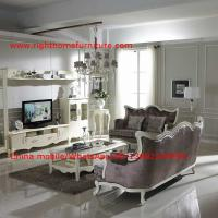 China Neoclassical Living Room Furniture by Pure white Wall Unit and Coffee table with Luxury Sofa set wholesale