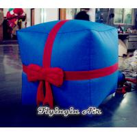 China Customized Blue Cube Christmas Inflatable Gift Box for Decoration wholesale