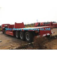 3 Axles Manual Semi Trailer Trucks Low Bed , Two Single Cargo Truck Manufactures