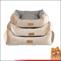China washable dog beds for large dogs free shipping Stripes short plush pet bed china factory on sale