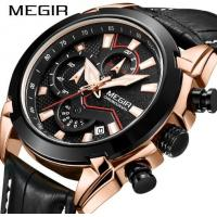 China MEGIR Speed Passion Men Genuine Leather Band  Racing Watches Chronograph 3 ATM Waterproof Fashuon Sport Watch 2065G on sale