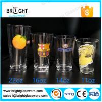 clear 22oz 16oz 14oz 11oz water glass tumbler with customized decal logo Manufactures