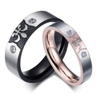 China 2018 New trendy Valentine Gift Wedding Ring For Lovers Couple Stainless Steel Diamond Engagement Rings wholesale
