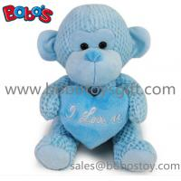Special Valentines Day Gift Stuffed Blue Monkey Plush Toy With Blue Heart Pillow Manufactures