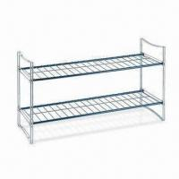 2-tier Shoe Storage Rack, Measures 63.5 x 22.5 x 30.5cm, Made of Iron Wire Manufactures
