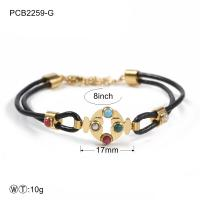 China Two Color Stainless Steel Bracelets Black Leather Rope With Stone wholesale