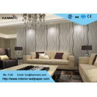 Quality Removable Contemporary Wall Coverings , Modern Nonwoven Striped Wallpaper for Living Room for sale