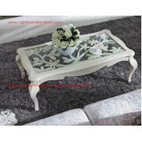 China Neoclassical style Coffee table in smart flower craft with tempered glass top and Teatable set with wood drawers wholesale