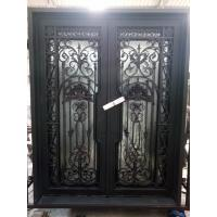 China 2016 Popular Style Wrought Iron Entry Door With Dual-Panel Tempered Glass on sale