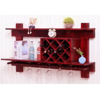 China Wall Mounted Wooden Wine Rack And Glass Holder Cabinet , Floating Wine Glass Rack Shelf on sale