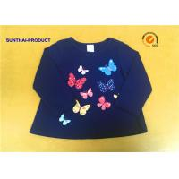 China Round Neck Childrens Long Sleeve T Shirts , Butterfly Screen Print Cool Kids T Shirts wholesale