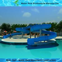 Fiberglass Swimming Pool Water Slide , Blue Commercial Spiral Water Slide Manufactures