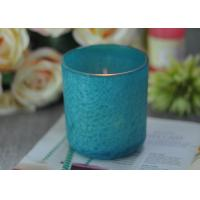 China Beautiful Wedding Gift Feather Painted Glass Candle Holders Decorative Candle Jars on sale