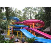 China Customized Fiberglass Steel Open Spiral Water Slide Blue Pink for Aqua Park wholesale