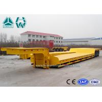 Tri - Axle Semi Low Bed Trailer 100 Ton For Transport Heavy Equipment , Carbon Steel Manufactures