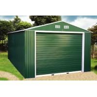 China Green Gable Roof Steel Car Garage / Metal Storage Shed With Electric Control Rolling Door on sale