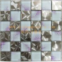 China fresh sytle crystal glass mosaic tile mix metal mosaic decorate the background for hotel,bar,club.ec on sale
