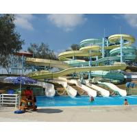 China Hotel Pool Fiberglass Slides , Open Spiral Water Slides Group for Adults wholesale