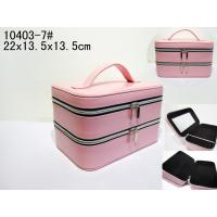 Square Two Layers Pink Luxury Leather Jewellery Box With Mirror / Handle Manufactures