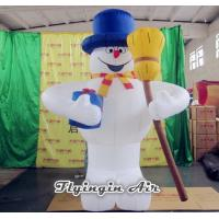 China Outdoor Christmas Inflatable Decorations, Inflatable Snowman with Broom wholesale
