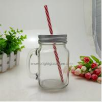 16oz Glass Mason Jar With Handle and Metal Lid in Straws Manufactures