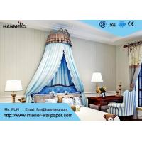 Non Woven Wallcovering Modern Stripe Wallpaper for Bedroom , Smooth Surface Treatment Manufactures