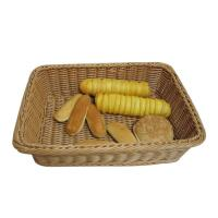 Hands Weave Large Brown Poly Rattan Bread Basket / Bakery Shelf Display Baskets Manufactures