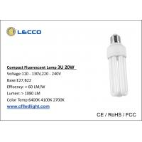 China High Brightness Compact Fluorescent Lamps Cfl T4 20W Bulbs 3U Tricolor 8000h Lifetime wholesale