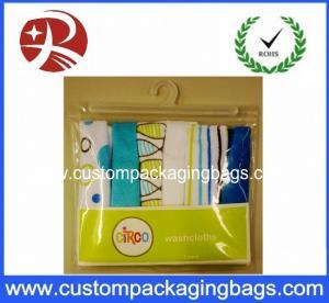 China Super Clear Soft plastic PVC Hook Bag / Slider Zipper PVC Hanger Bag For Clothing on sale