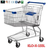 China 155L Hyper Market / Grocery Shopping Trolley With Transparent Powder Coating wholesale