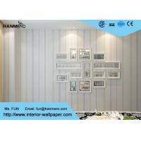 White and Purple Modern Striped Wallpaper for Bedrooms , Removable Kids Wallpaper Manufactures