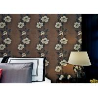 Floral Interior House Decoration Wallpaper With Non Woven Materials , Brown Color Manufactures