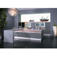 China Grey / Pink High Gloss Lacquer Kitchen Cabinets With White Quartz Stone wholesale