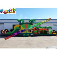 Inflatable Sport Obstacle Course Bouncer Dual Lane Module Tropical With Tree Manufactures
