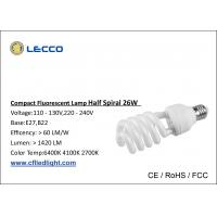 China 8000H Half Spiral Cfl Fluorescent Bulbs E27 Base Tricolor For Shop / Office wholesale